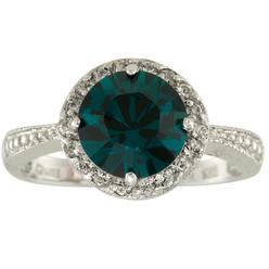 Emerald and Clear Swarovski Crystal Ring in Rhodium over Sterling Silver_in Size 8 at Kmart.com