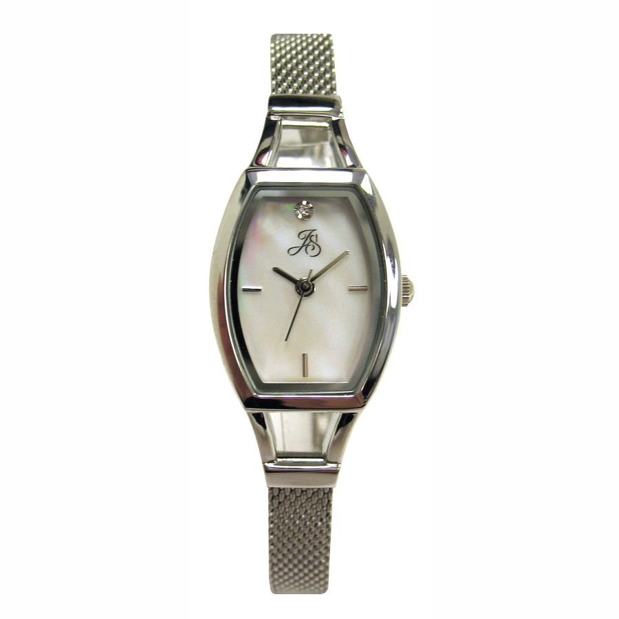 Jaclyn Smith Ladies Watch with Silvertone Barrel Case, White Dial and Mesh Band