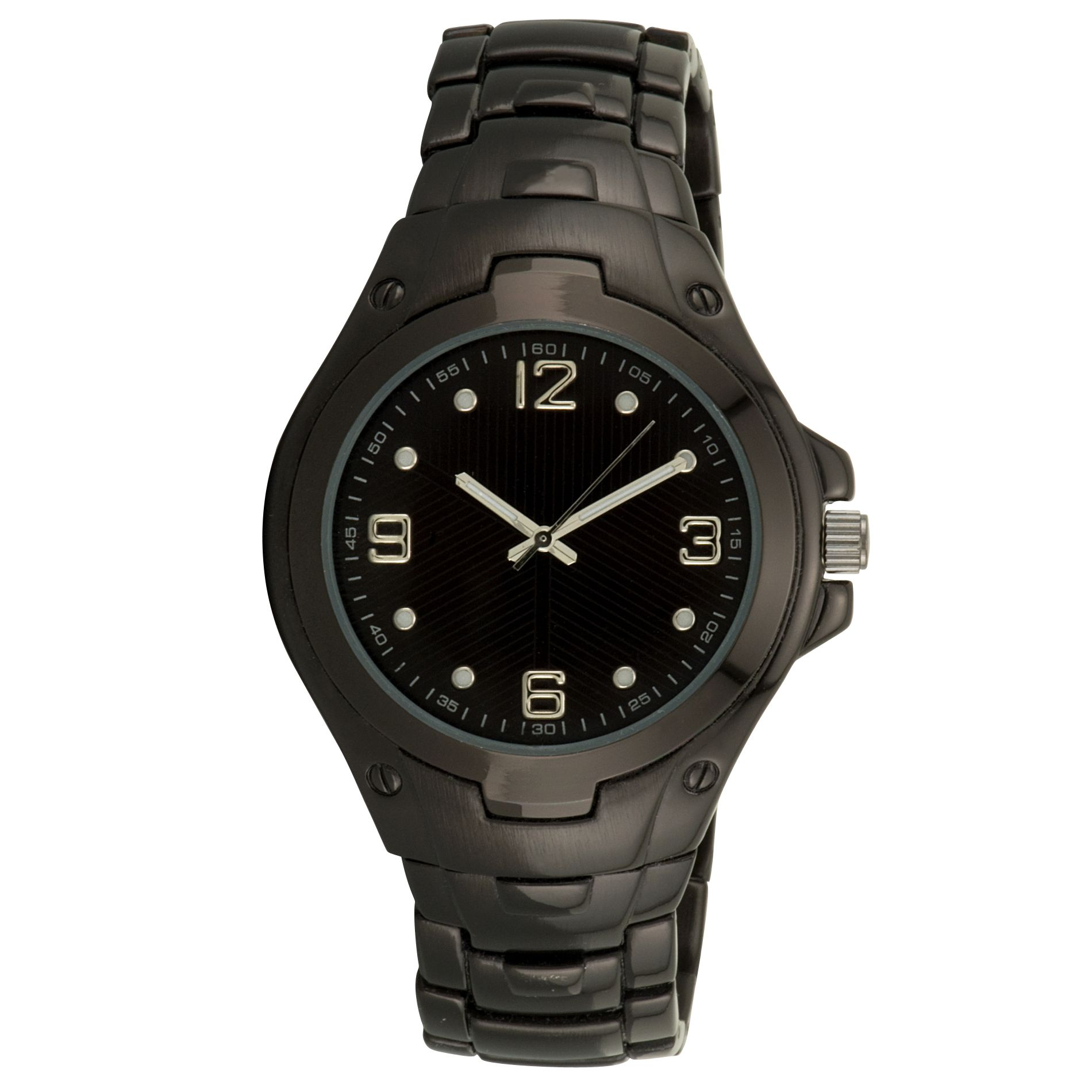Mens Watch with Round Gunmetal Case, Luminous Black Dial and Expansion Band                                                      at mygofer.com