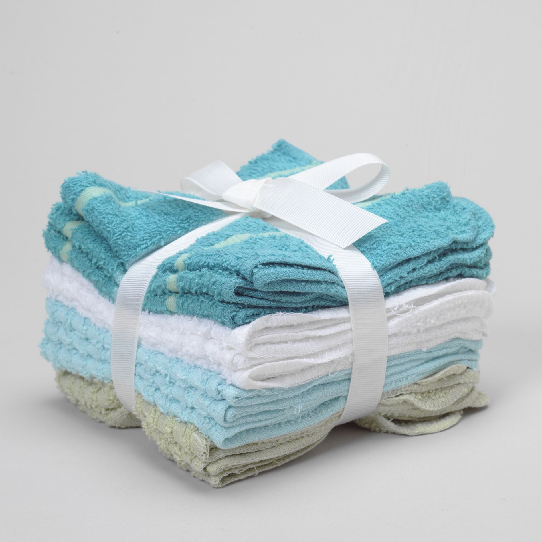 12Pk Washcloth Set Turquoise Stripe & Rib