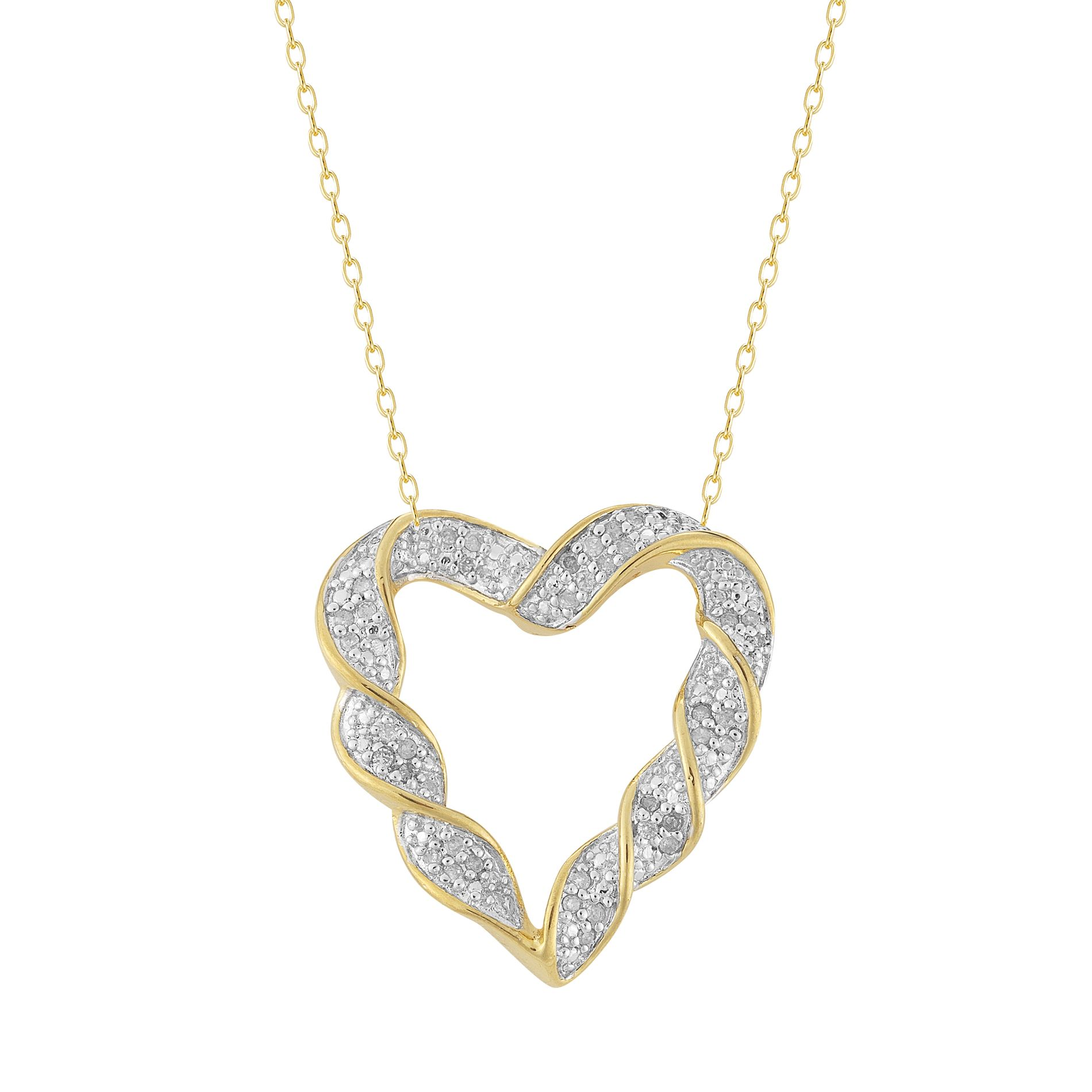 The Avance Collection: 18Kt Gold Over Sterling Silver 1/5Cttw Diamond Hear