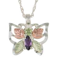 Black Hills Gold Tricolor Sterling Silver Gemstone Butterfly Pendant at Sears.com