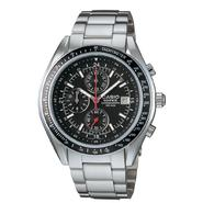 Casio Mens Calendar Date Chronograph Watch with Black Dial and Silvertone Band at Sears.com