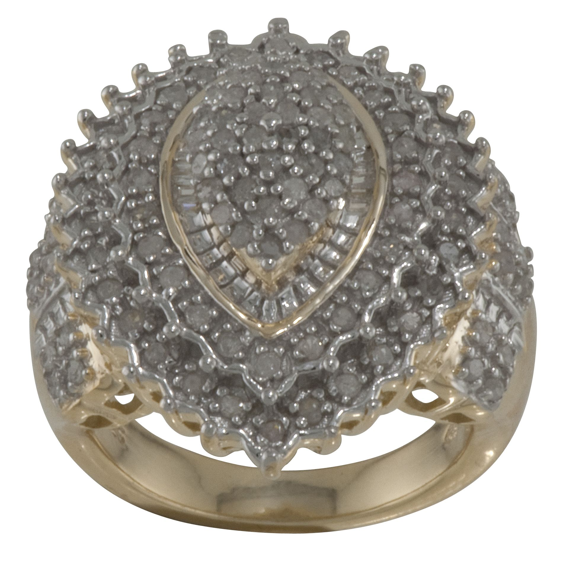 18K Gold Over Silver 1 CTTW Diamond Ring