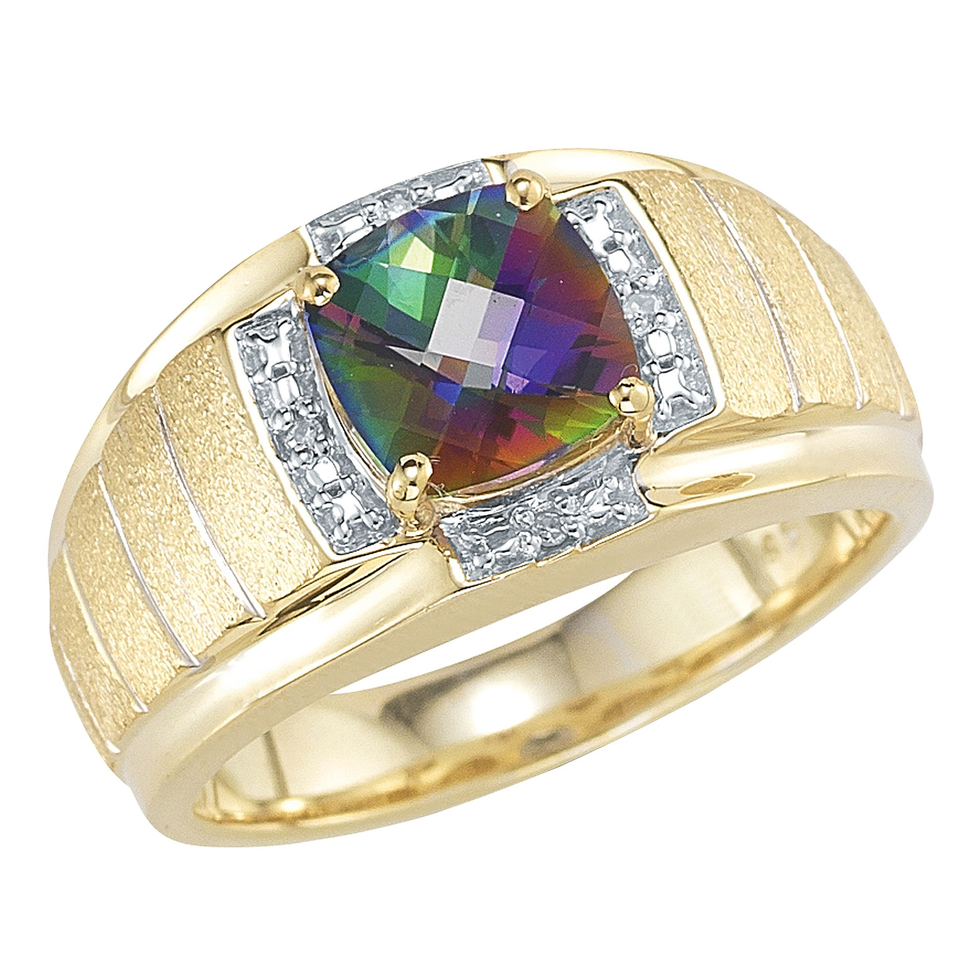 18Kt Gold Over Sterling Silver Mystic Topaz and Diamond Accent Ring