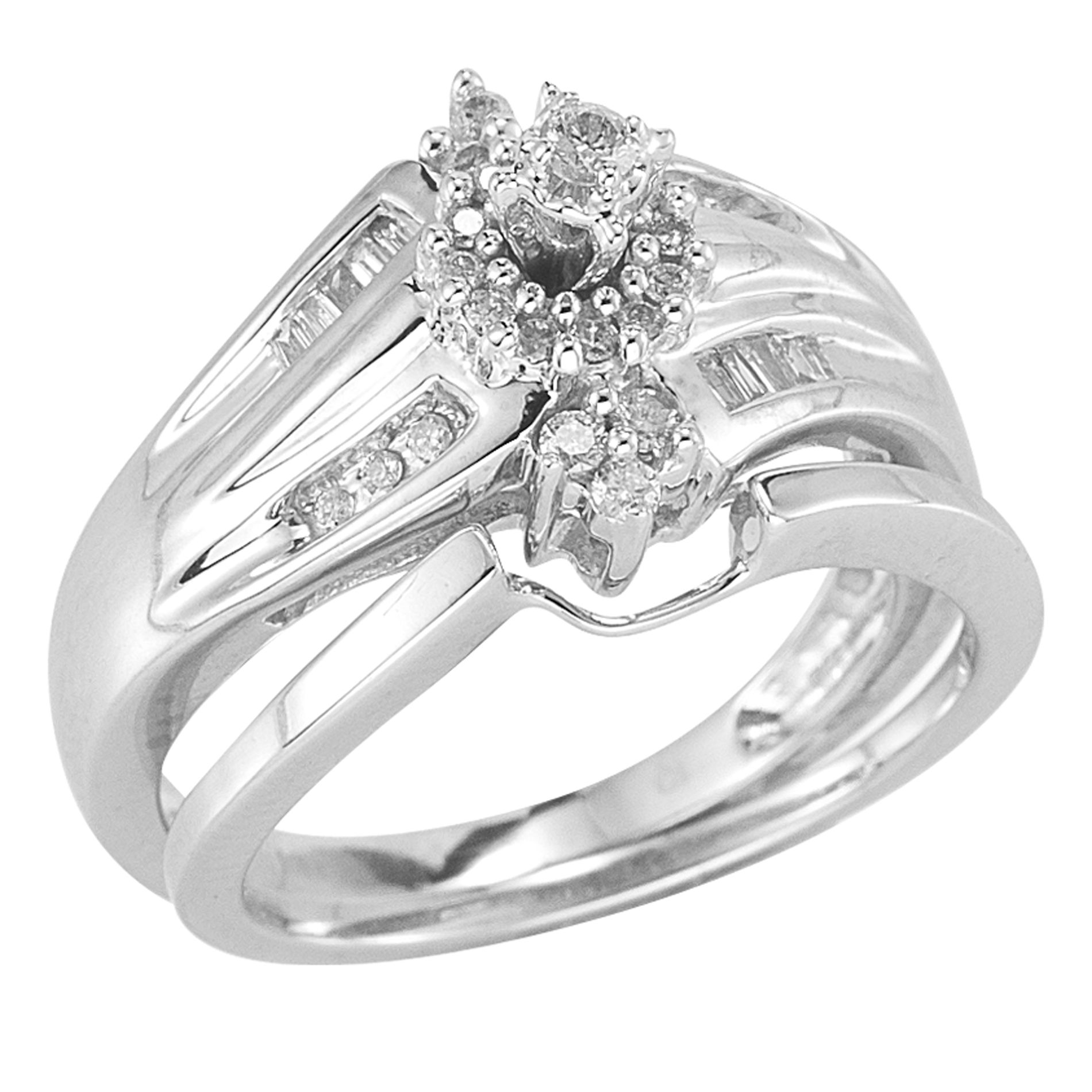 10Kt White Gold 1/3Cttw Diamond Bridal Set