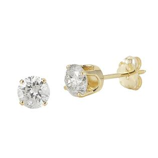 14Kt Yellow Gold Genuine 1.00Cttw Diamond Round Stud Earrings