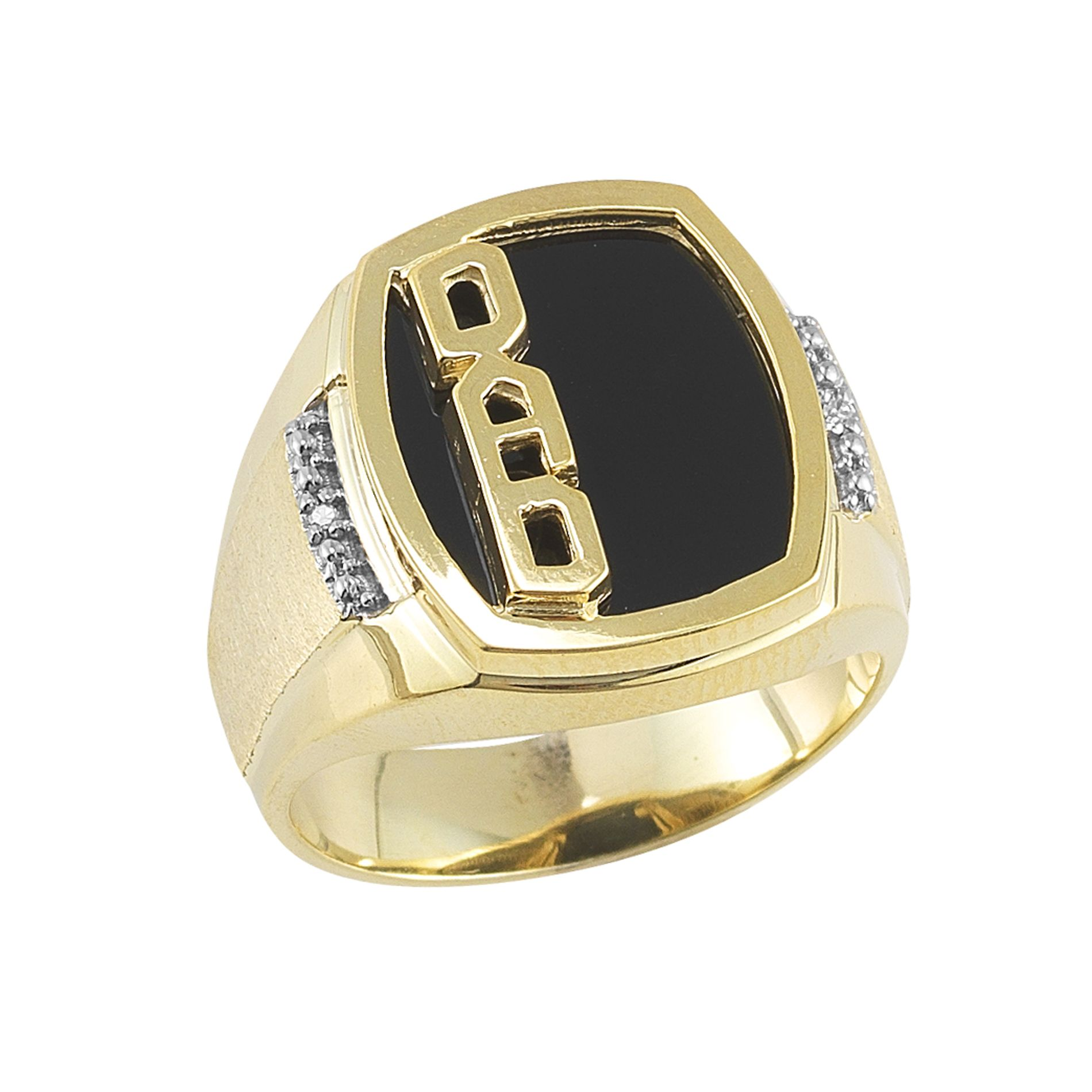 18Kt Gold over Sterling Silver Black Onyx & Diamond