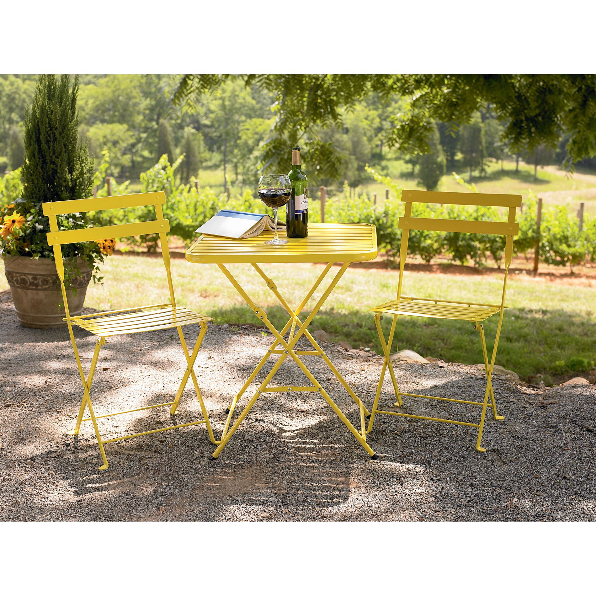 French Bistro Style Steel Chair - Yellow                                                                                         at mygofer.com