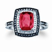 Lab Created Ruby With Black And White Diamond Accent Ring In Sterling Silver at Kmart.com