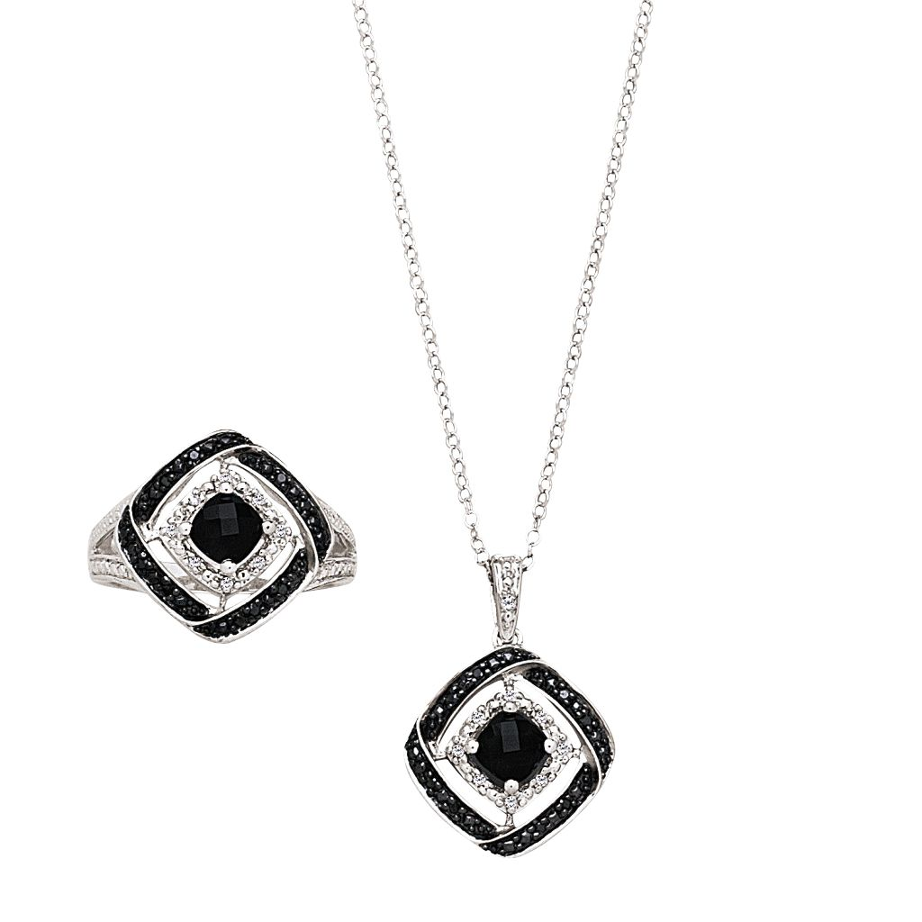 2-Piece Onyx Diamond Sterling Silver Necklace & Ring Set