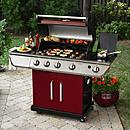 4-Burner LP Red Gas Grill w/ Searing Burner