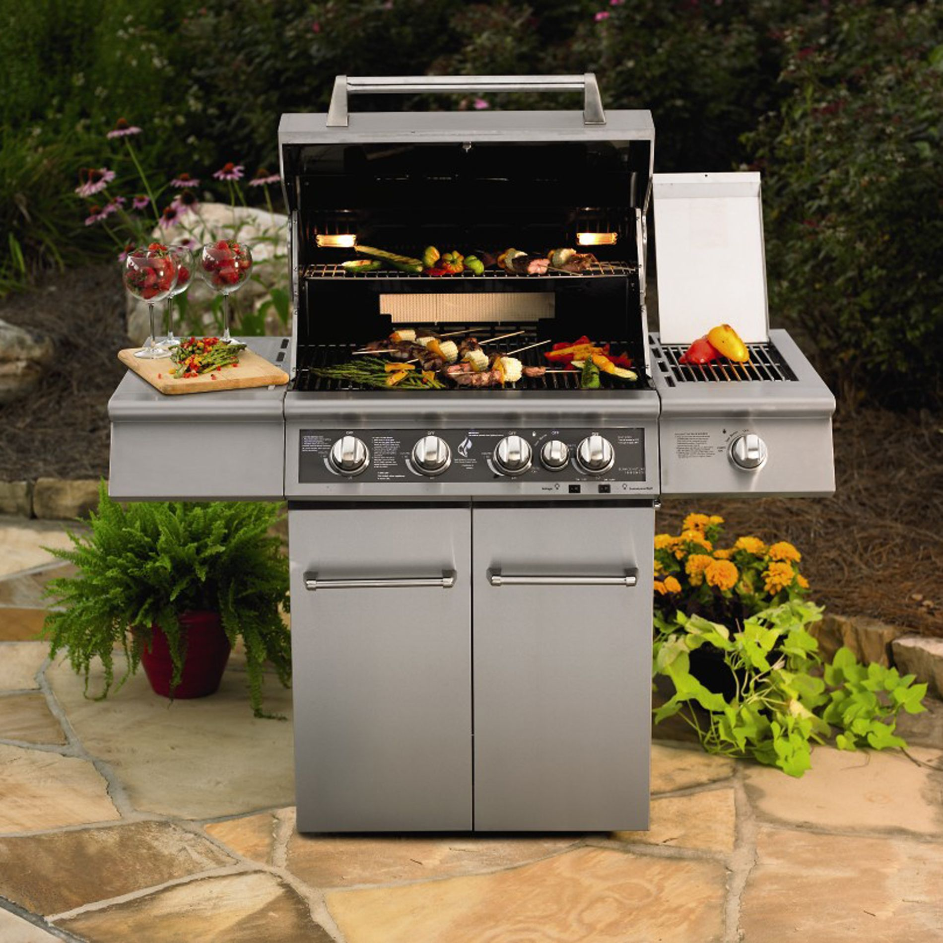 KitchenAid Burner Dual Energy Outdoor Gas Grill w LED Backlit Control Panel