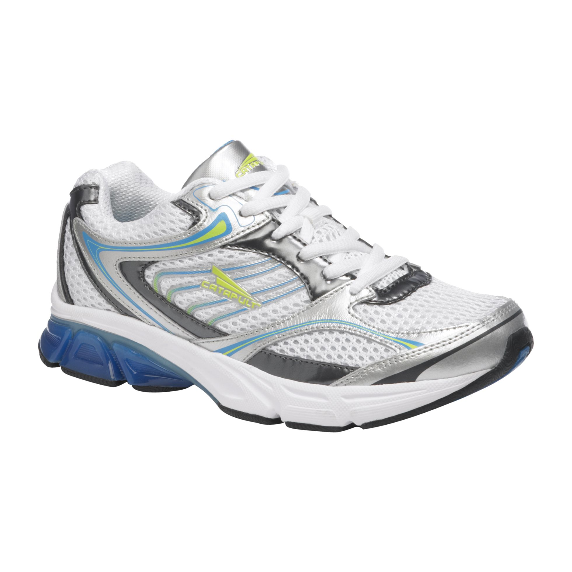 CATAPULT Women s Paula Leather Lace-Up Running Shoe - Blue White Lime