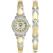 Elgin Ladies Crystal Accent and Two-Tone Gold Dress Watch and Bangle Set at Sears.com