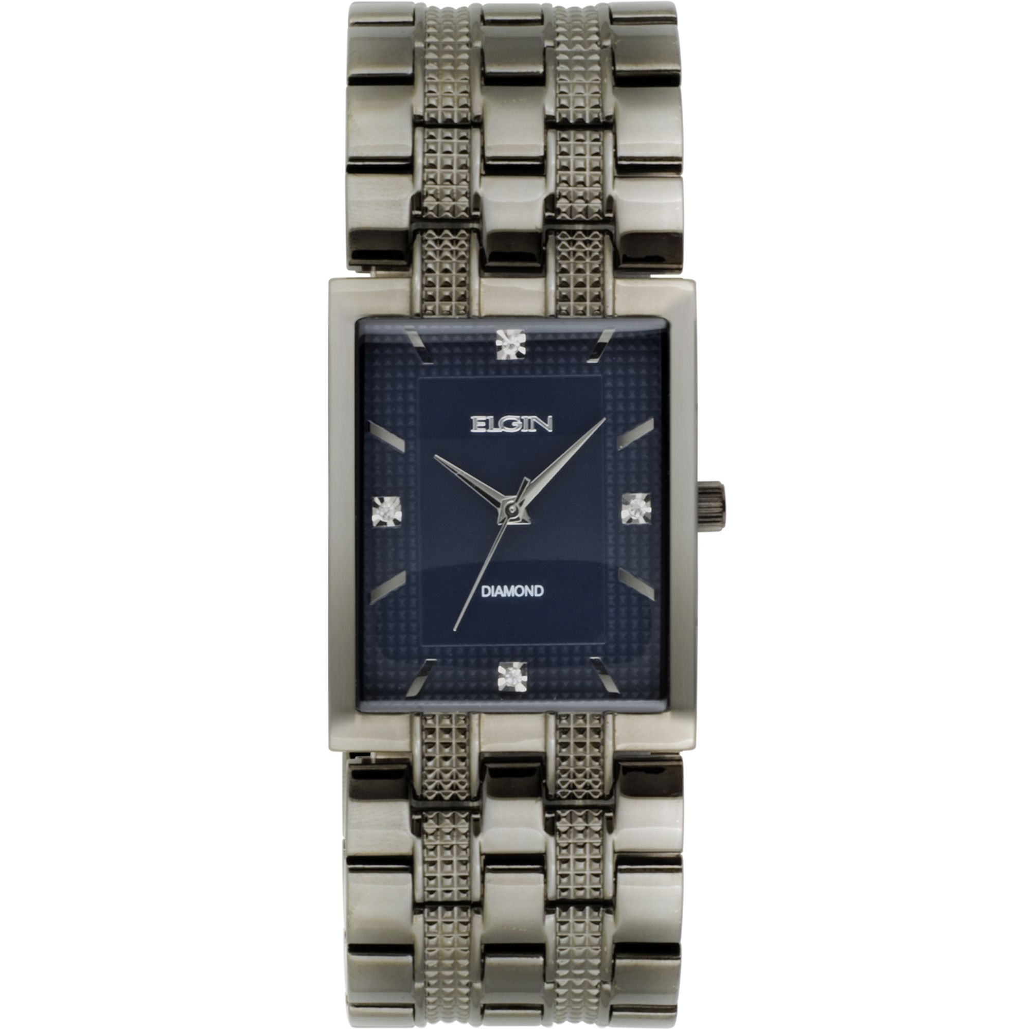 Mens Dress Watch w/ST Square Case, Diamond