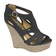 Qupid Women's Kibi Open Toe Wedge Sandal - Black