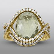 Zeghani Green Quartz Ring with Simulated Diamonds at Sears.com