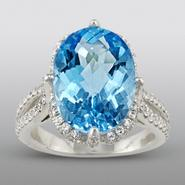 Zeghani Blue Topaz Ring with Simulated Diamonds at Sears.com