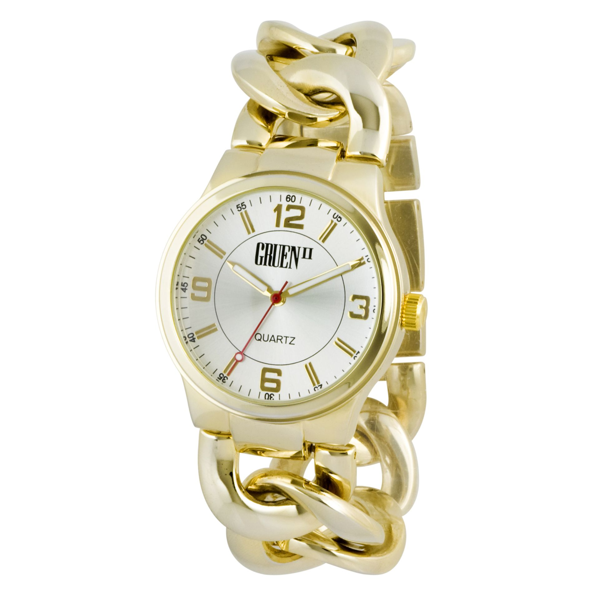 Ladies Dress Watch w/Round Goldtone Case,
