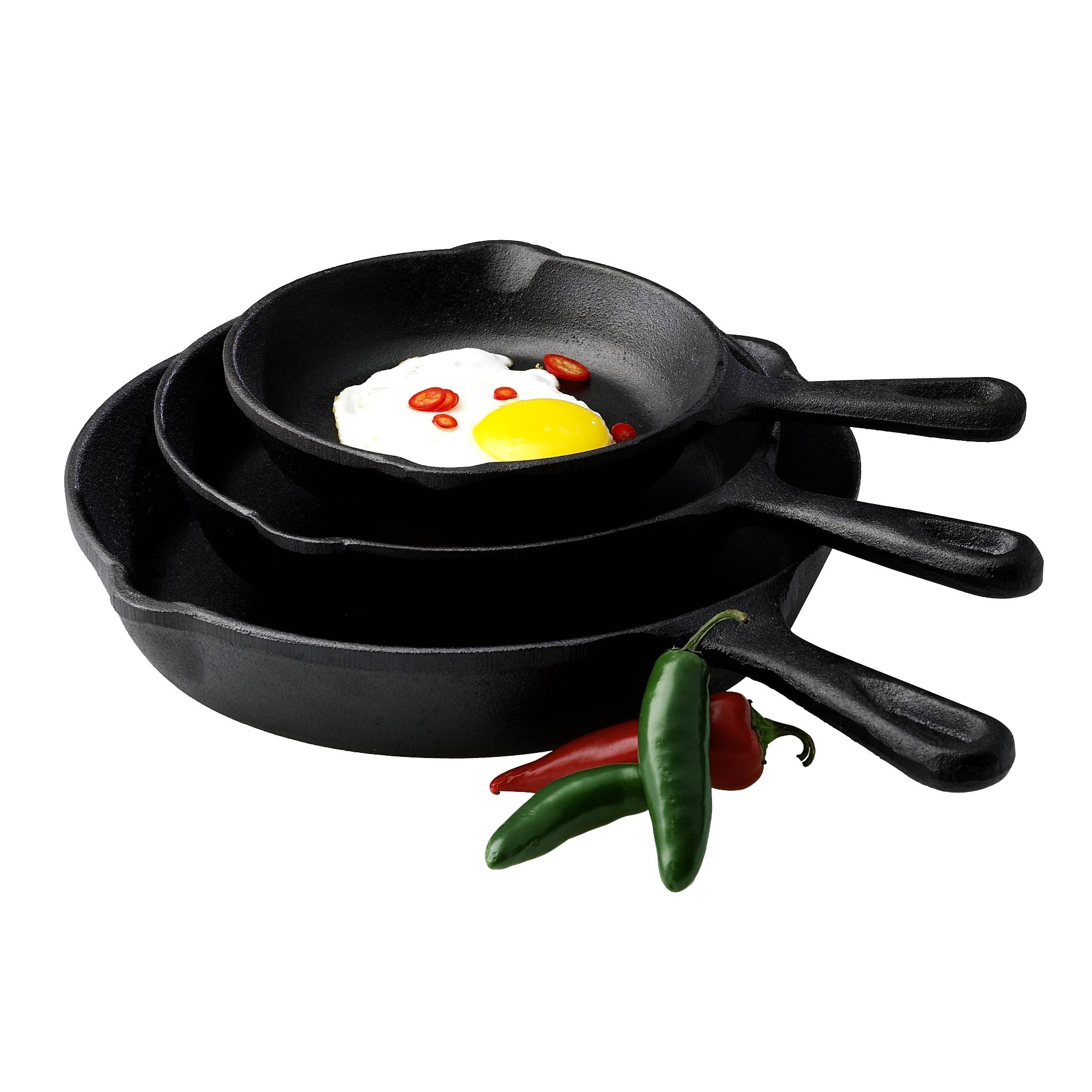 Basic Essentials  3Pc Cast Iron Fry Pan Set
