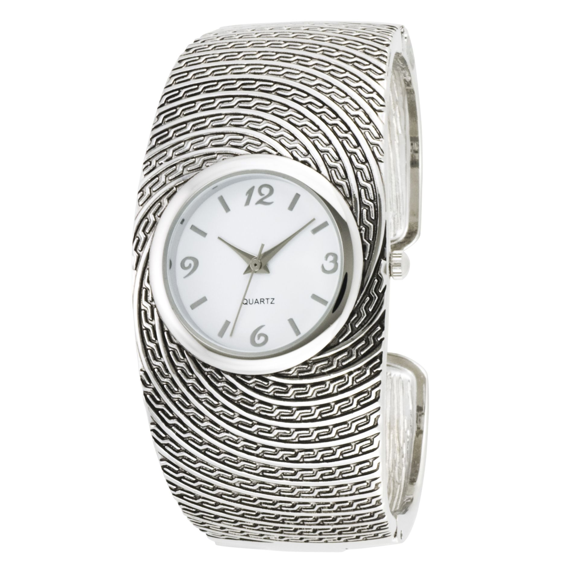 Ladies Dress Watch w/Round ST Case, White