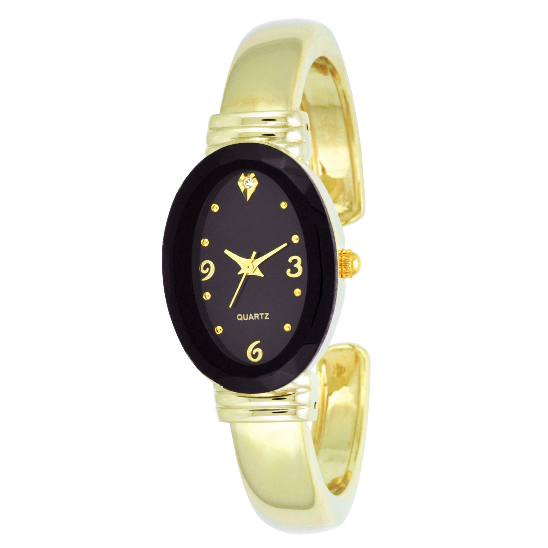 Ladies Dress Watch w/Black Oval Case, Crystal Accent Dial and GT Bangle Band