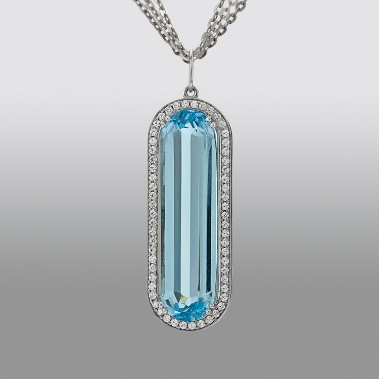 Blue Topaz Pendant with Simulated Diamonds                                                                                       at mygofer.com
