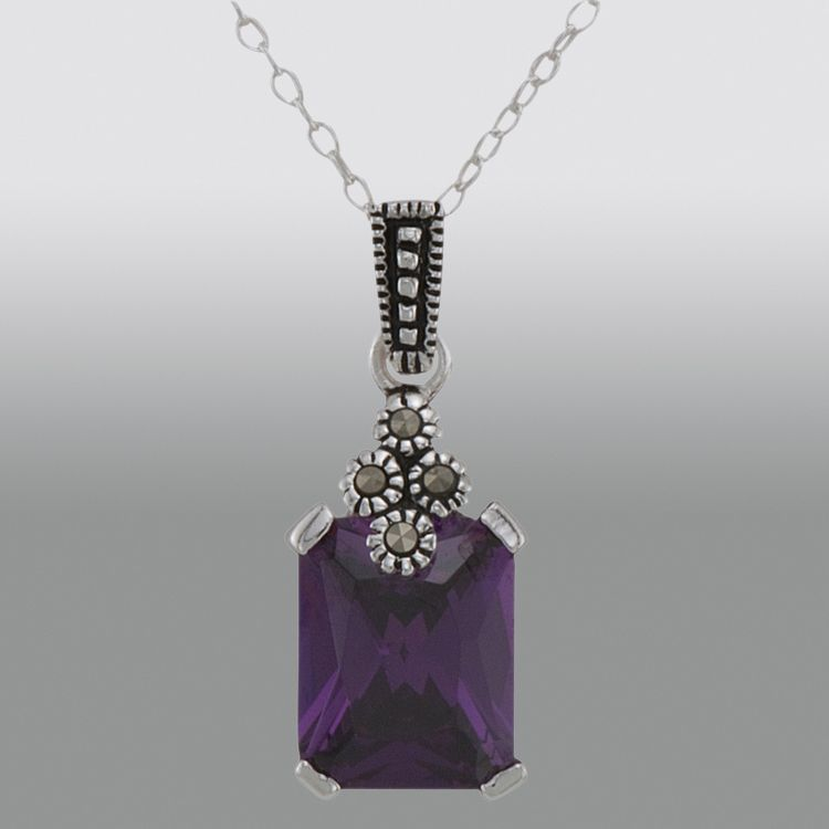 Sterling Silver Marcasite and Amethyst Cubic