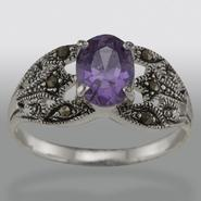 Sterling Silver Marcasite and Amethyst Cubic Zirconia Ring, Size 8 at Kmart.com