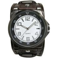 Mens Watch w/Gunmetal Round Case, Dual Color Dial and Brown Leather Cuff Band at Kmart.com