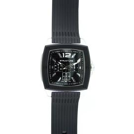 Structure Mens Watch w/Black/ST Square Case, Black Multi-Display Dial and Resin Band at Kmart.com