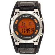 Sharp Mens Calendar Day/Date Chronograph Watch w/Orange Digital Dial and Black Band Gunmetal Band at Kmart.com