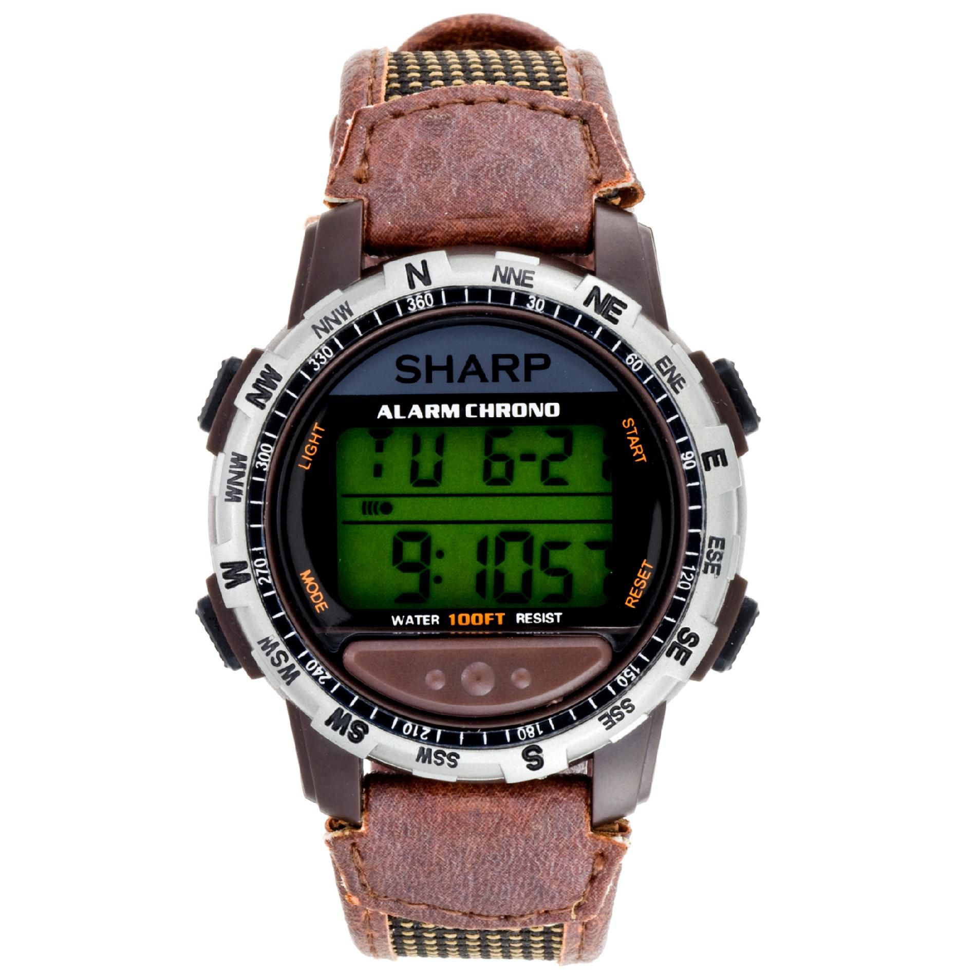 Mens Calendar Day/Date Chronograph Digital Watch with Brown Leather Band                                                         at mygofer.com