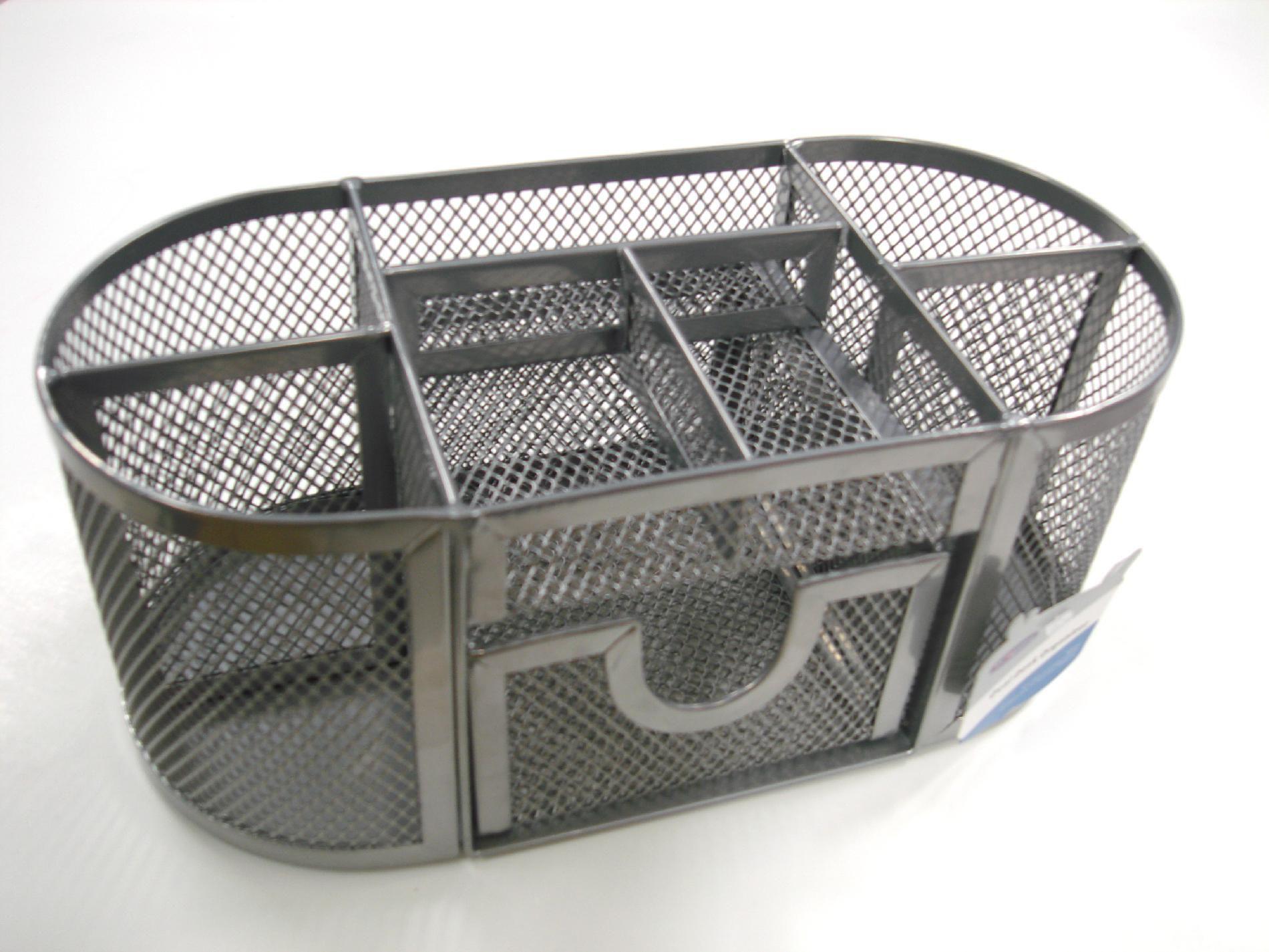 Oval Desk Organizer - Silver