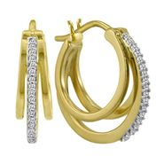 Diamond Accent 3 Row Hoop Earring in 14k Gold Over Silver at Sears.com