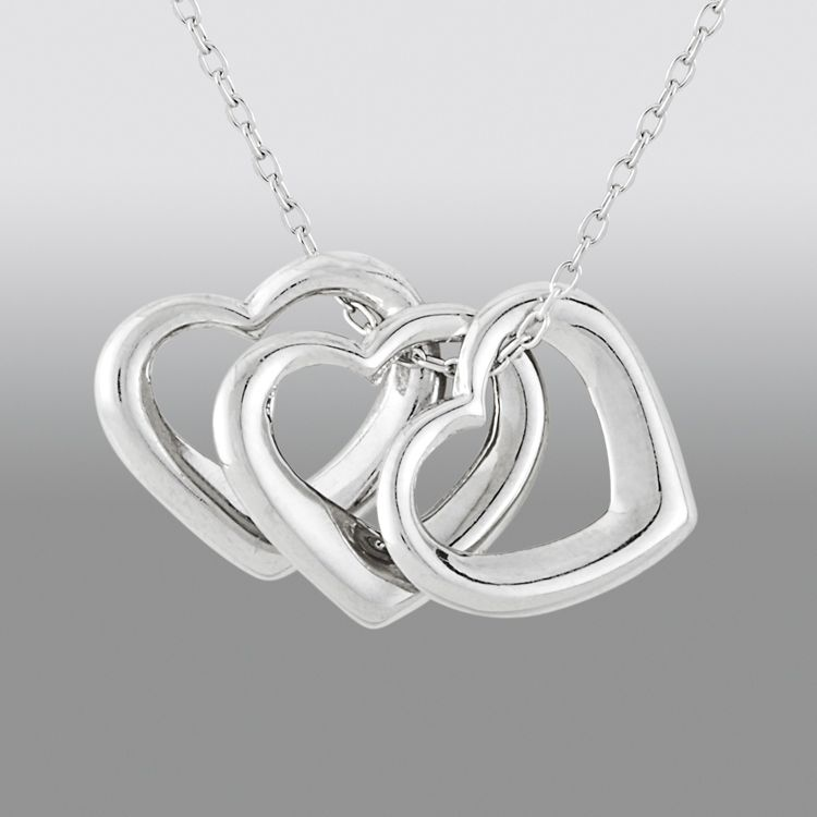Triple Hearts Pendant in Sterling Silver
