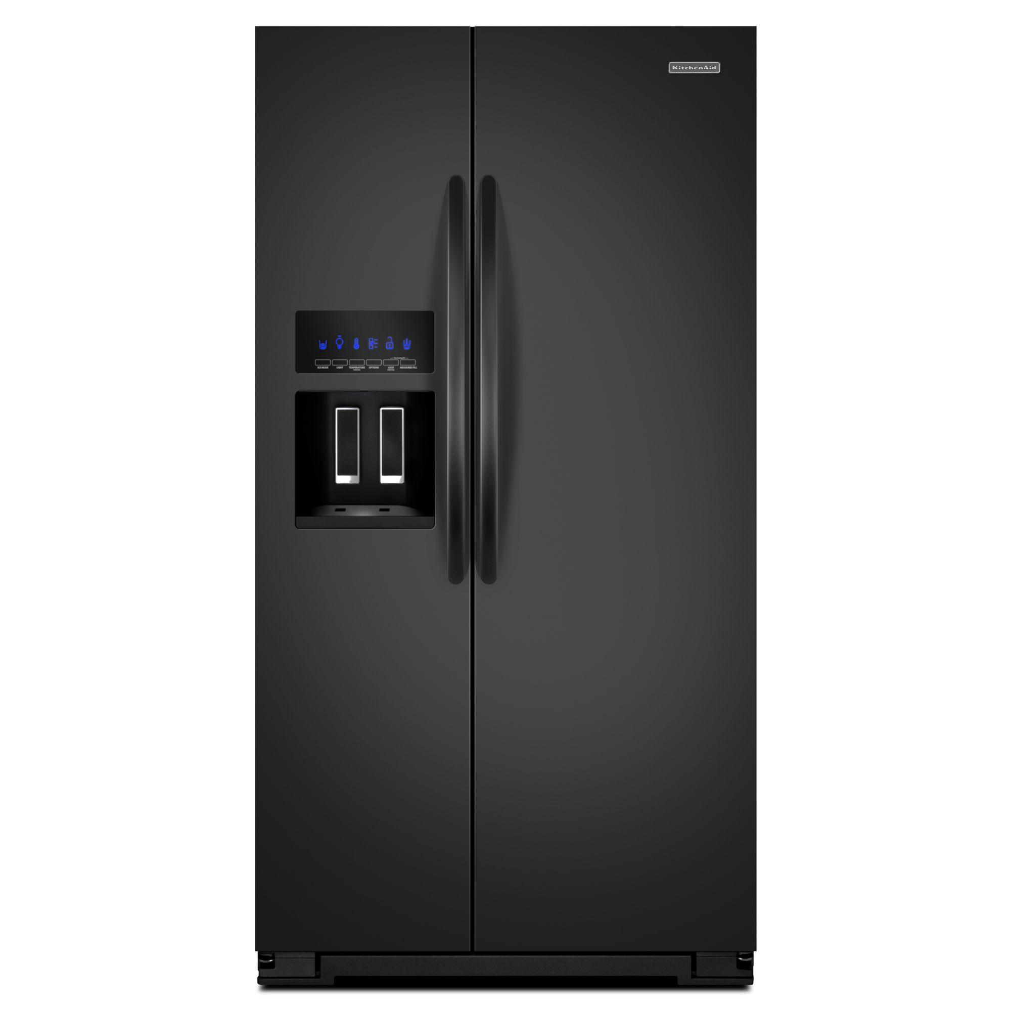 KitchenAid 26.4 cu. ft. Side-by-Side Refrigerator w/ Flush Dispenser Design - Black