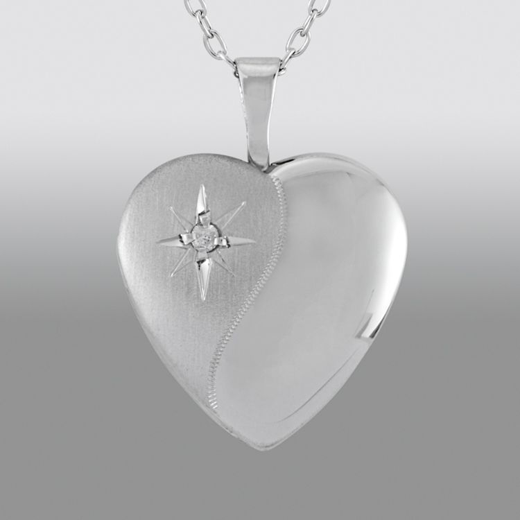 Diamond Accent Starburst Heart Locket