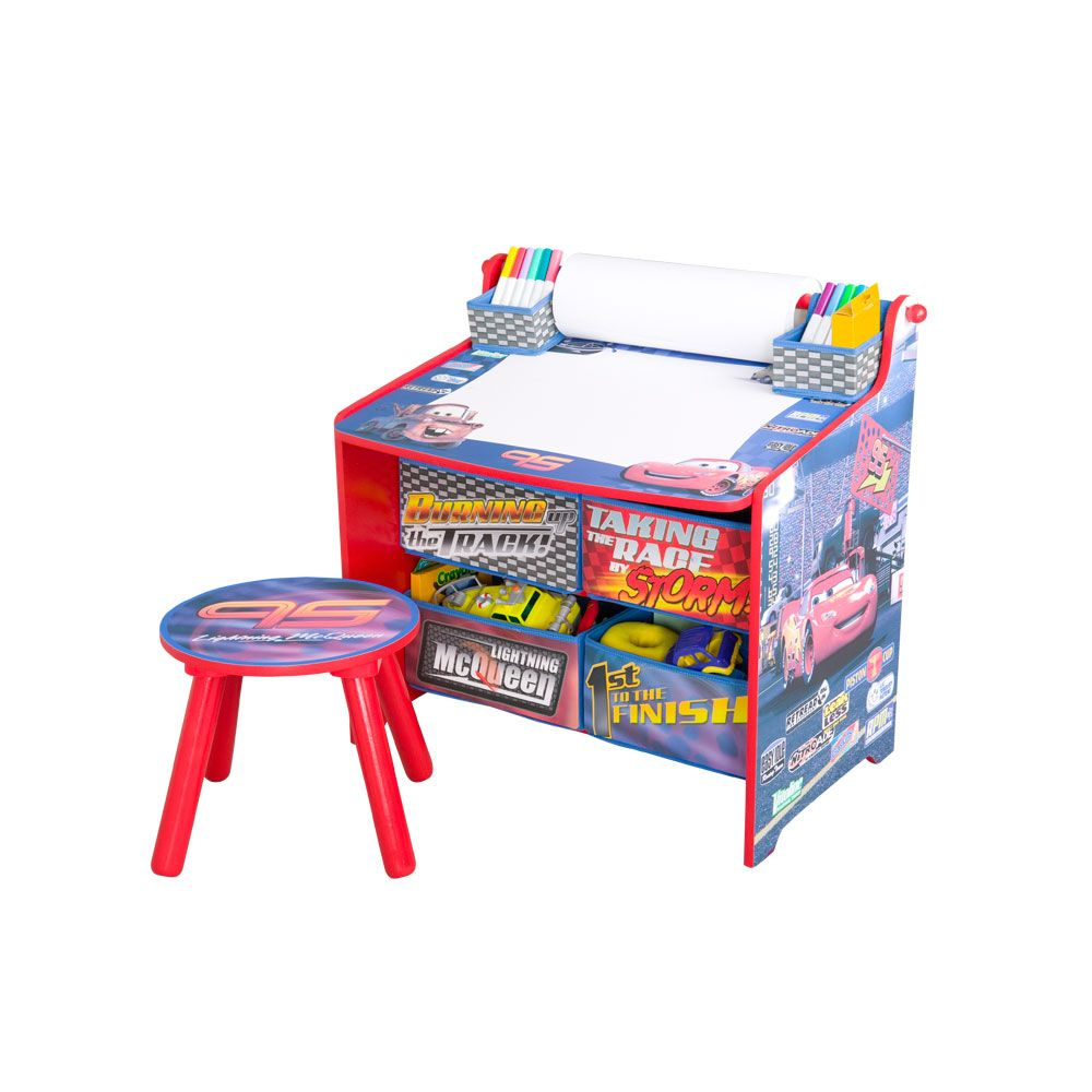 Delta Children Disney Cars Art Table With Paper Roll Wipe Board And Storage