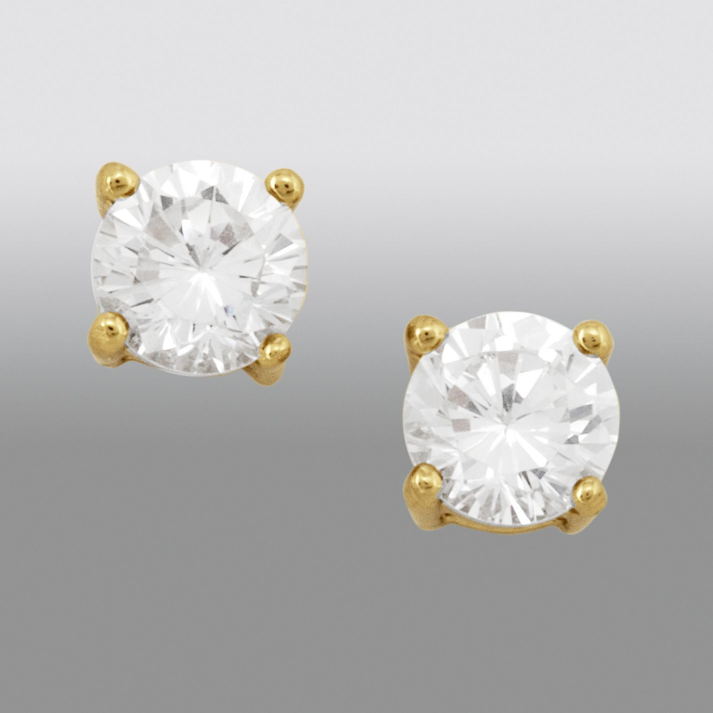 2 ct. Cubic Zirconia Stud Earrings in 24K