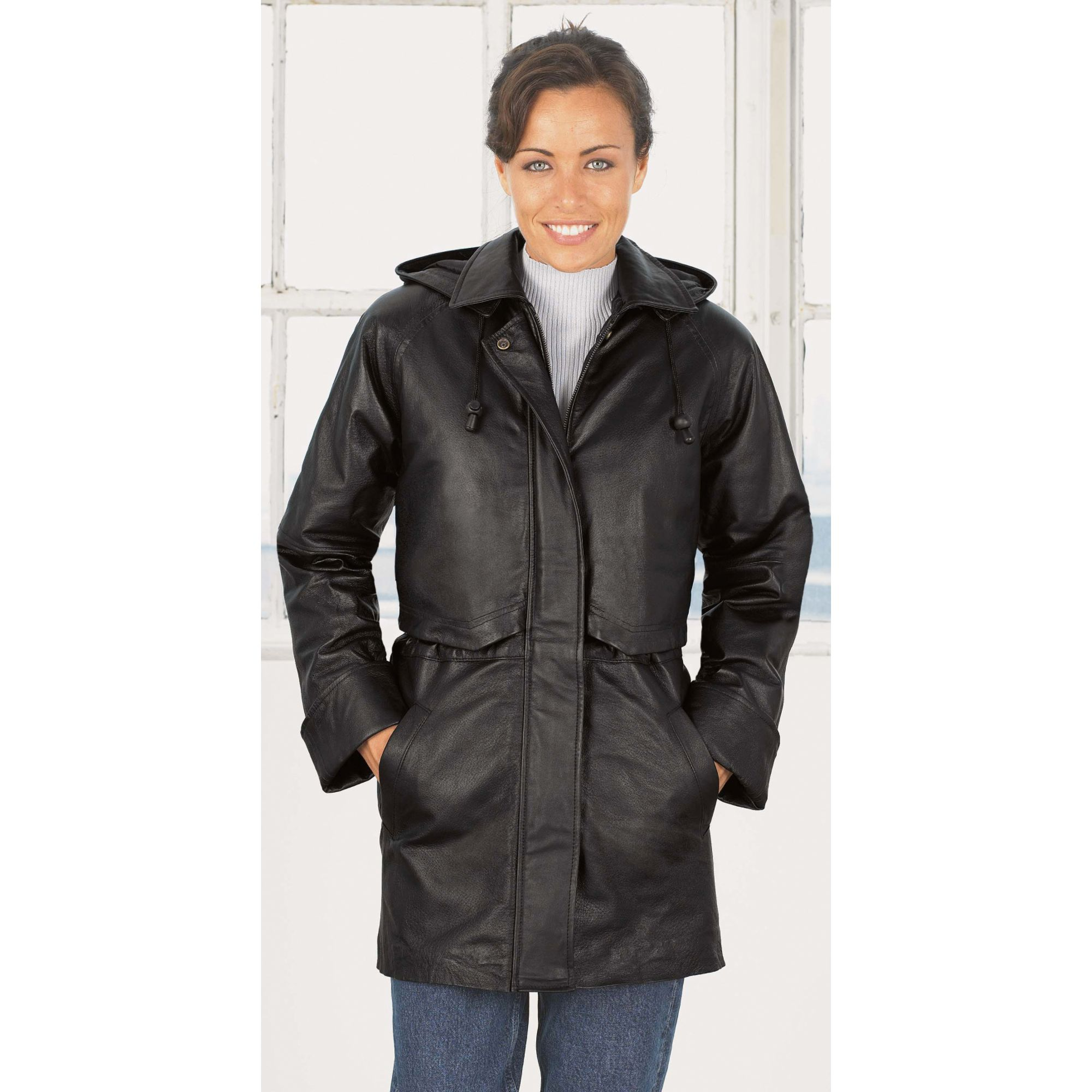 Excelled  Women's Leather Anorak Jacket