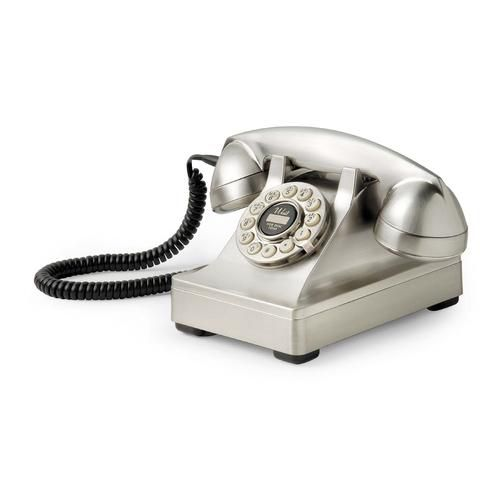 Crosley Corded Phone, 302 Desk Phone / Brushed Chrome