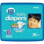 Little Ones Baby Diapers For Boys & Girls, Size 6 (35 lb & Over), Fun Look & Great Fit! With Playtime Design, Jumbo, 26 diapers at Kmart.com