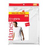 Hanes Men's Crew Neck Tees - White 5 Pk at mygofer.com