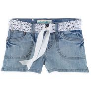Vanilla Star Girl's 7-16 Denim Pork Chop Short with Crochet Tie Belt at Kmart.com