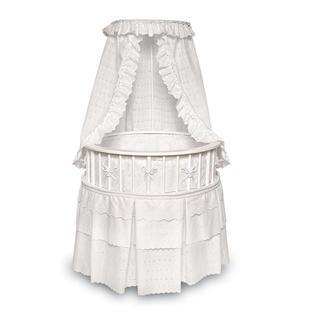 Badger Basket White Elegance Round Bassinet - White Bedding