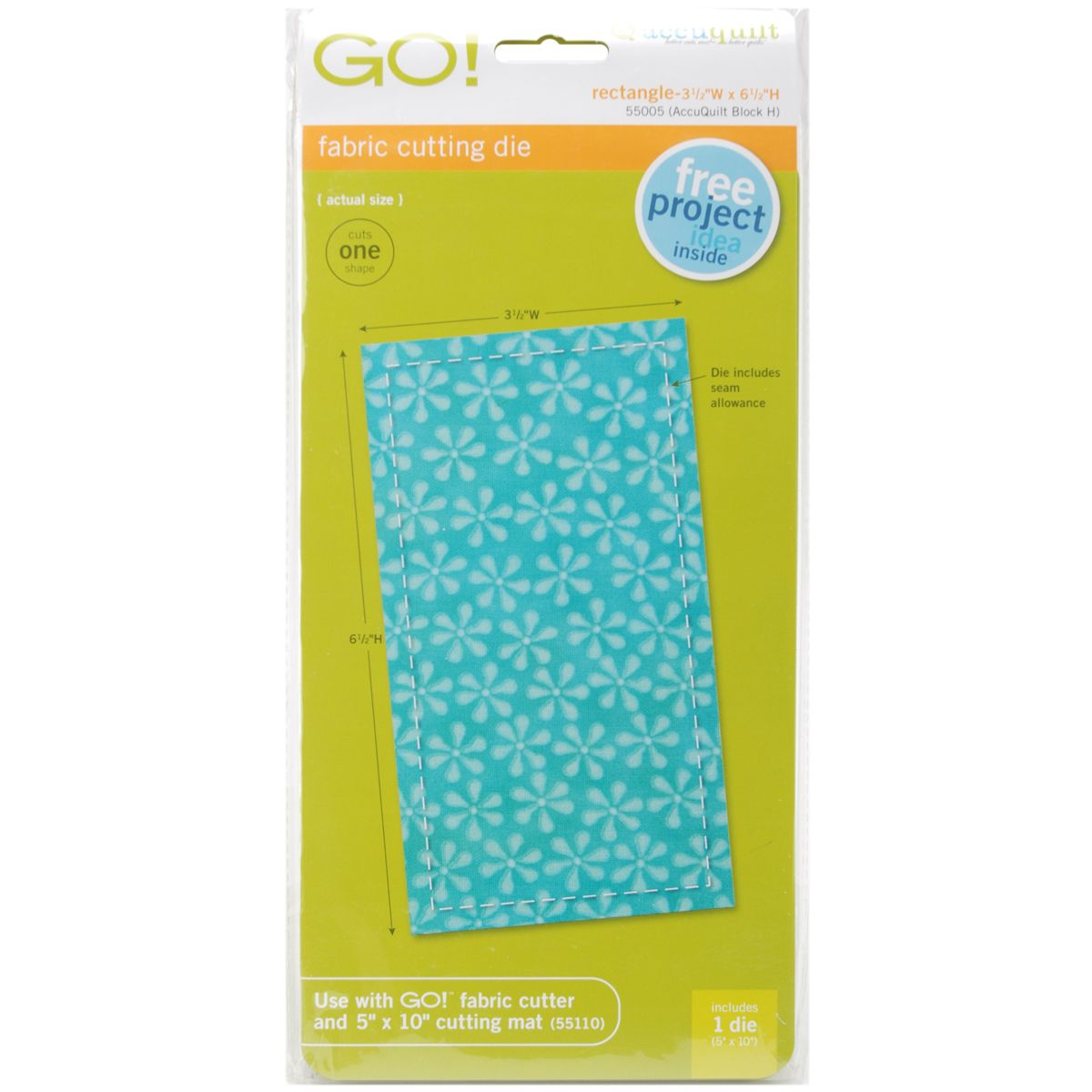 Accuquilt GO! Fabric Cutting Dies-Rectangle 3-1/2