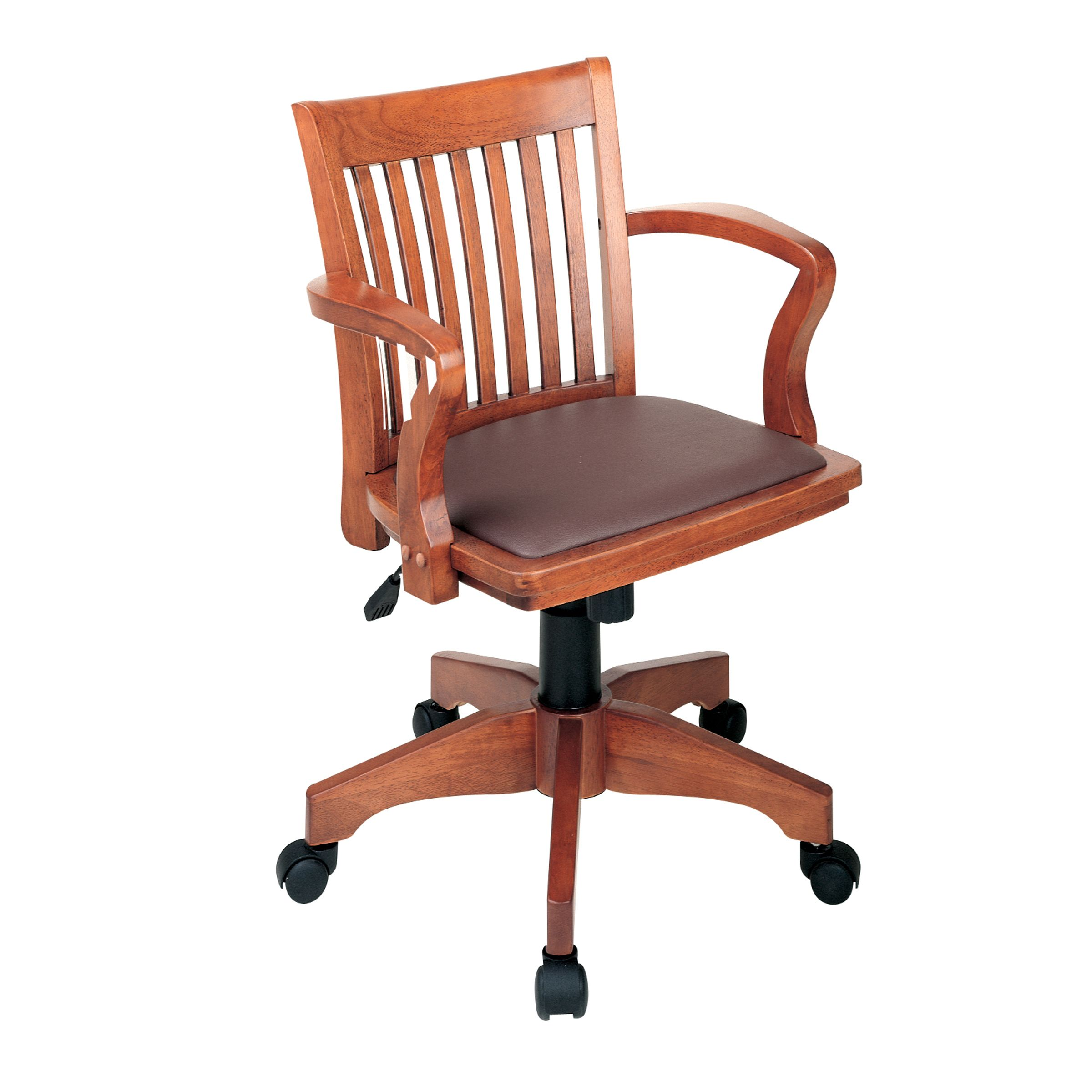 Adjustable Wood Bankers' Desk Chair with