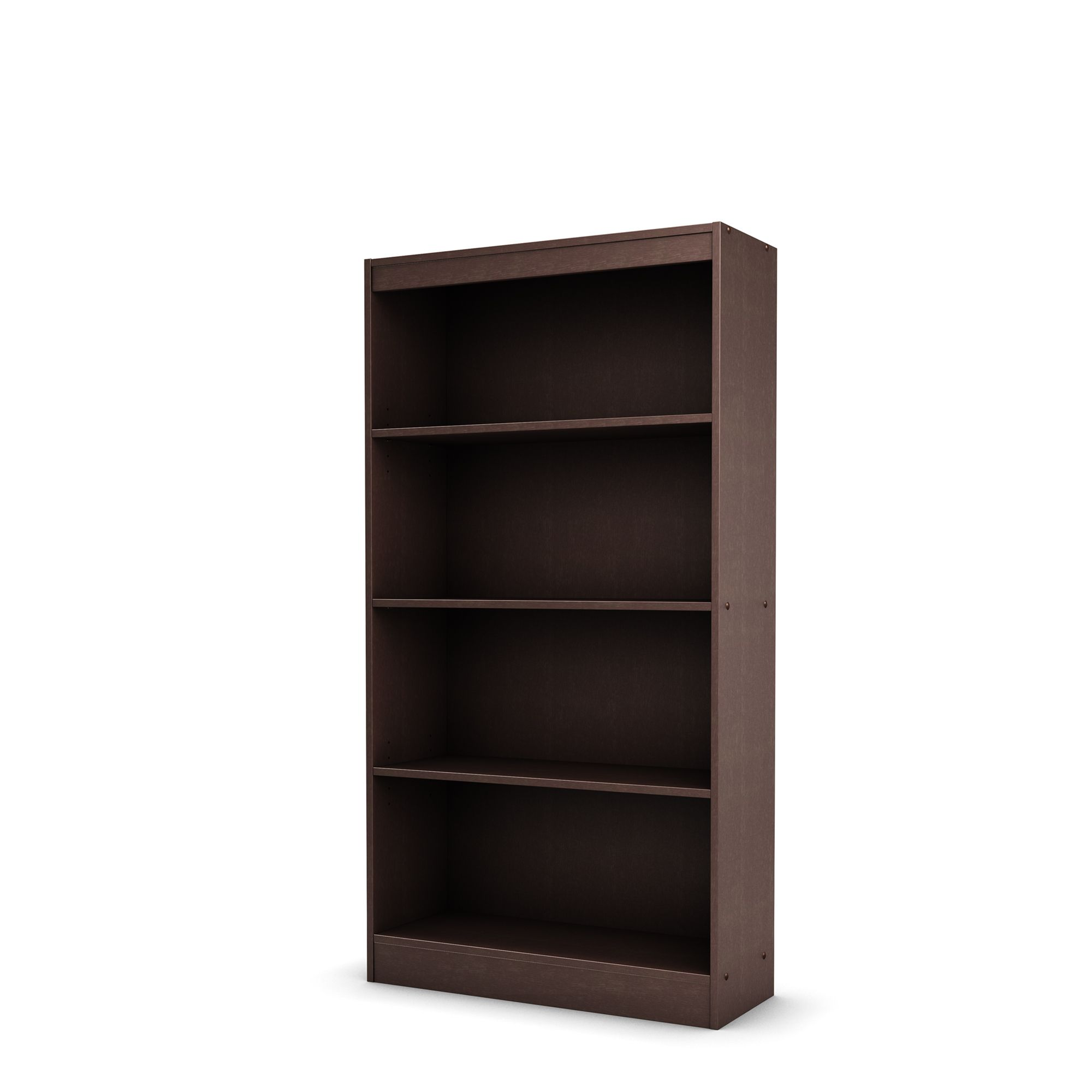 South Shore Essentials Collection Four Shelf Bookcase, Chocolate
